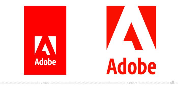 """Adobe """"Red Tag Logo"""" – vorher und nachher, Bildquelle: Adobe, Bildmontage: dt"""
