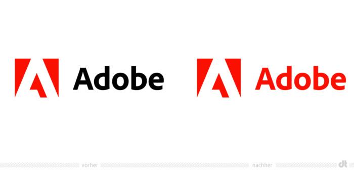Adobe Logo – vorher und nachher, Bildquelle: Adobe, Bildmontage: dt