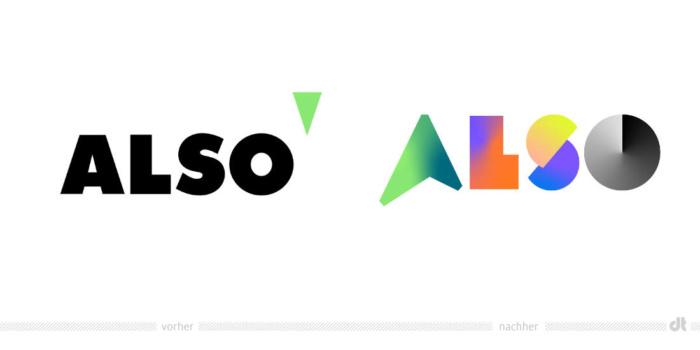 ALSO Logo – vorher und nachher, Bildquelle: ALSO, Bildmontage: dt