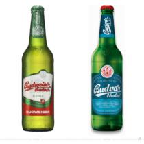 Budweiser Budvar Alkoholfrei 0,5l Flasche – vorher und nachher. Bei der Abbildung rechts handelt es sich um ein 3D-Rendring. Bildquelle: Budweiser Budvar, Bildmontage: dt