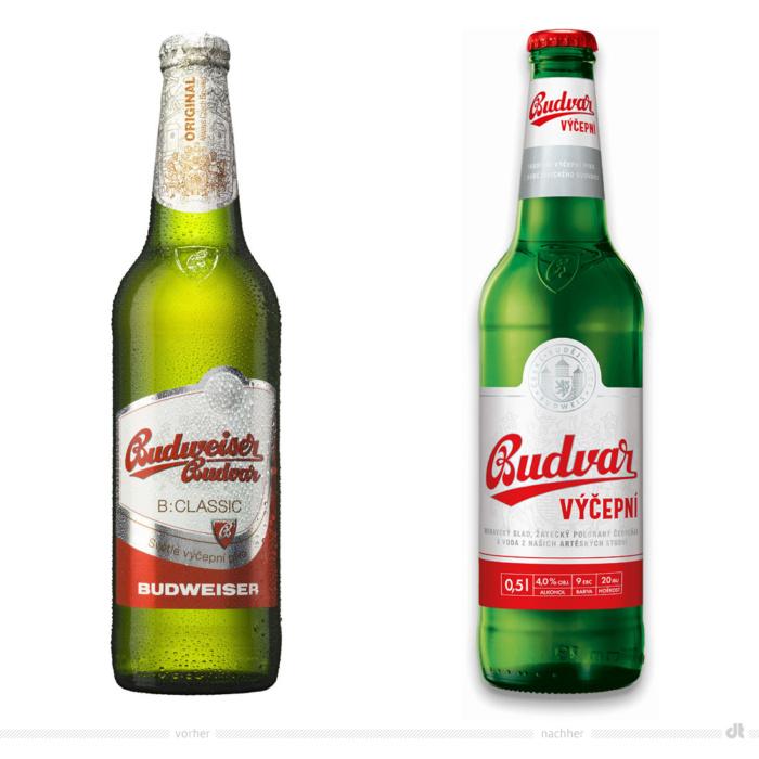 Budweiser Budvar Classic 0,5l Flasche – vorher und nachher. Bei der Abbildung rechts handelt es sich um ein 3D-Rendring. Bildquelle: Budweiser Budvar, Bildmontage: dt