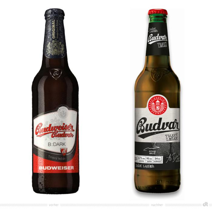 Budvar Dark Lager 0,5l Flasche – vorher und nachher. Bei der Abbildung rechts handelt es sich um ein 3D-Rendring. Bildquelle: Budweiser Budvar, Bildmontage: dt