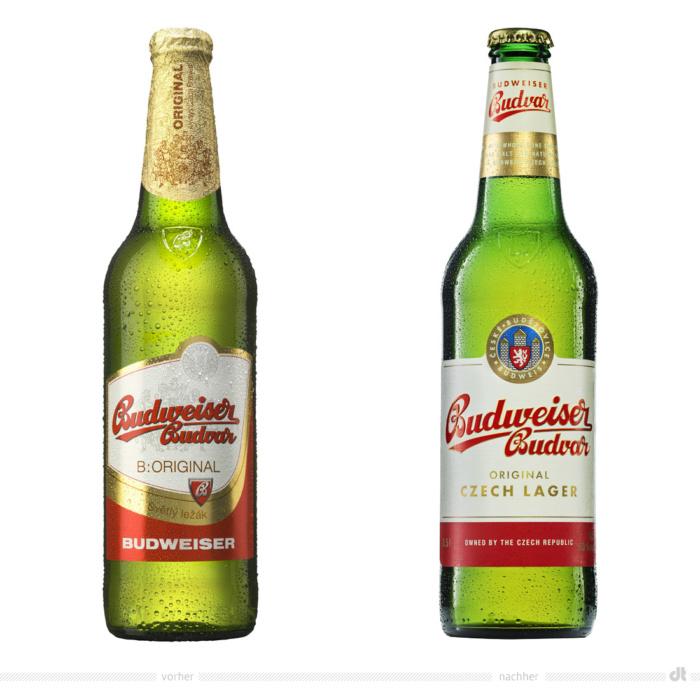 Budweiser Budvar Original 0,5l Flasche – vorher und nachherBildquelle: Budweiser Budvar, Bildmontage: dt