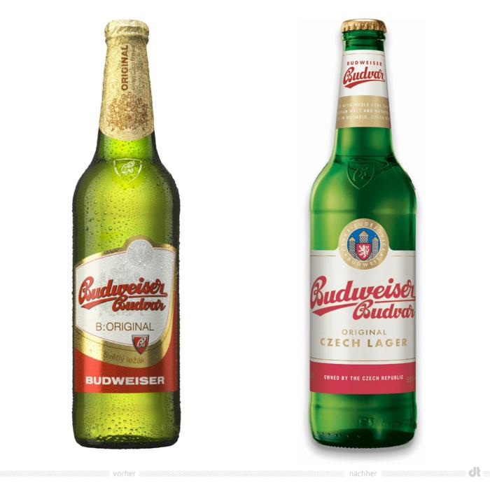 Budweiser Budvar Original 0,5l Flasche – vorher und nachher. Bei der Abbildung rechts handelt es sich um ein 3D-Rendring. Bildquelle: Budweiser Budvar, Bildmontage: dt