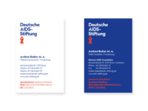 Deutsche AIDS-Stiftung Corporate Design – Anwendungsbeispiel Visitenkarte, Quelle: Deutsche AIDS-Stiftung