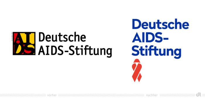 Deutsche AIDS-Stiftung Logo – vorher und nachher, Bildquelle: Deutsche AIDS-Stiftung, Bildmontage: dt