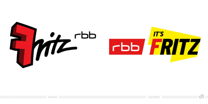 Radio Fritz Logo – vorher und nachher, Bildquelle: RBB/Radio Fritz, Bildmontage: dt