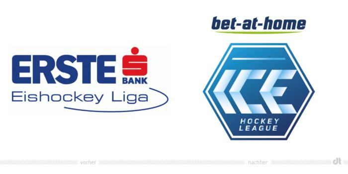 bet-at-home ICE Hockey League Logo – vorher und nachher, Bildquelle: bet-at-home ICE Hockey League/EBEL, Bildmontage: dt