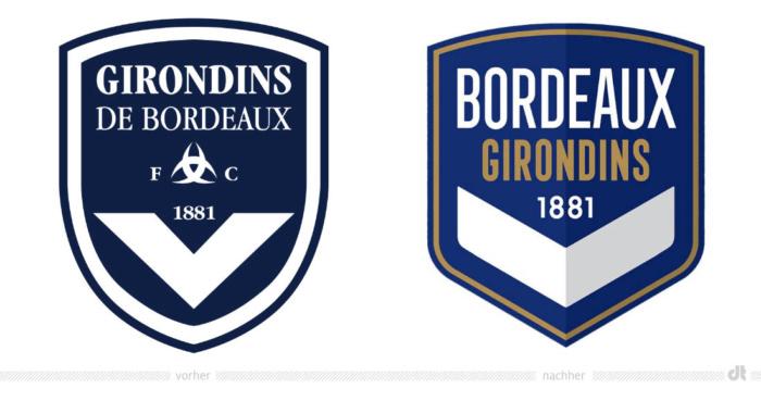 Girondins Bordeaux Logo – vorher und nachher, Bildquelle: Girondins Bordeaux, Bildmontage: dt