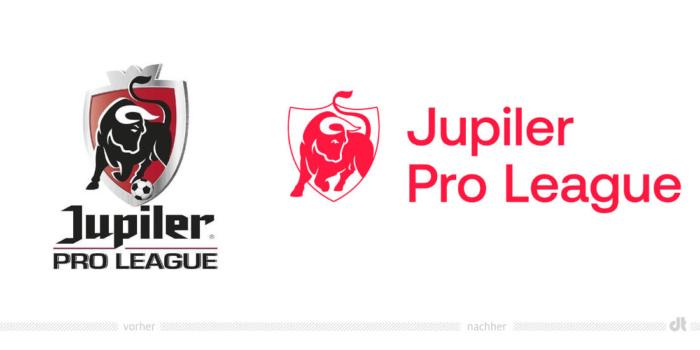 Jupiler Pro League Logo – vorher und nachher, Bildquelle: Pro League, Bildmontage: dt