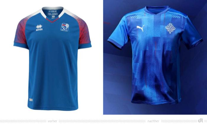 Isländische Fußballnationalmannschaft Trikot Redesign, Bildquelle: KSI, Bildmontage: dt