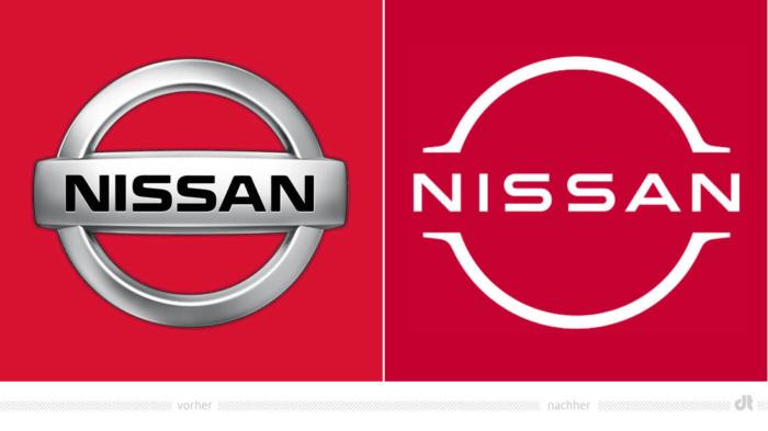 Nissan Logo – vorher und nachher, Bildquelle: Nissan, Bildmontage: dt