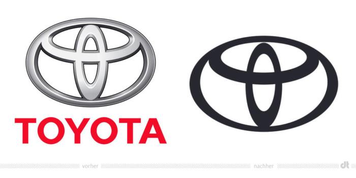 Toyota Logo – vorher und nachher, Bildquelle: Toyota Europe, Bildmontage: dt