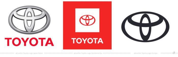 Toyota aktuell verwendete Markenlogos
