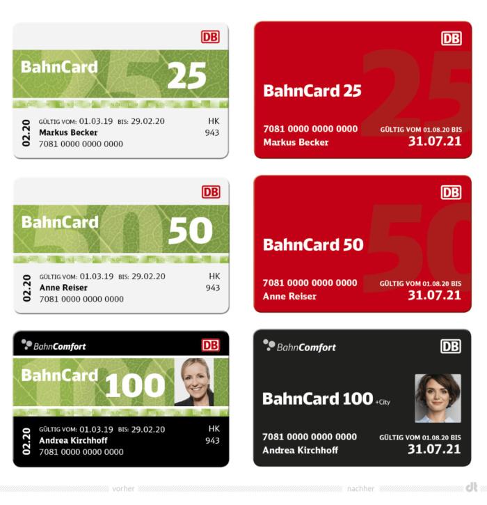 BahnCards – vorher und nachher, Bildquelle: Deutsche Bahn AG, Bildmontage: dt