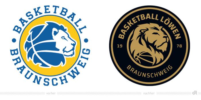 Basketball Löwen Braunschweig – Logo – vorher und nachher, Bildquelle: Basketball Löwen Braunschweig, Bildmontage: dt