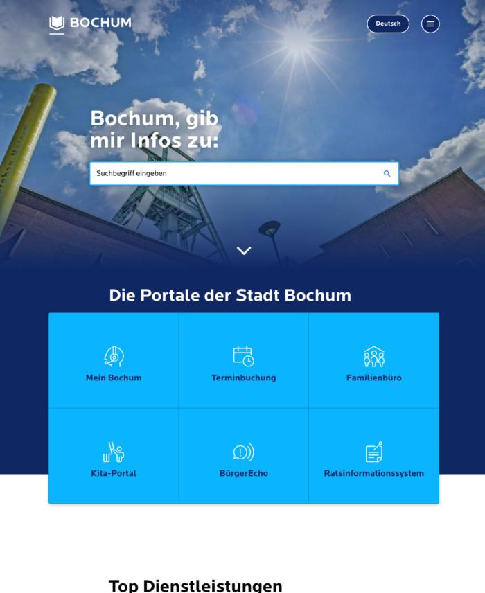 Bochum.de Webauftritt (2020)