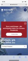 Bochum.de Webauftritt mobil (2020)