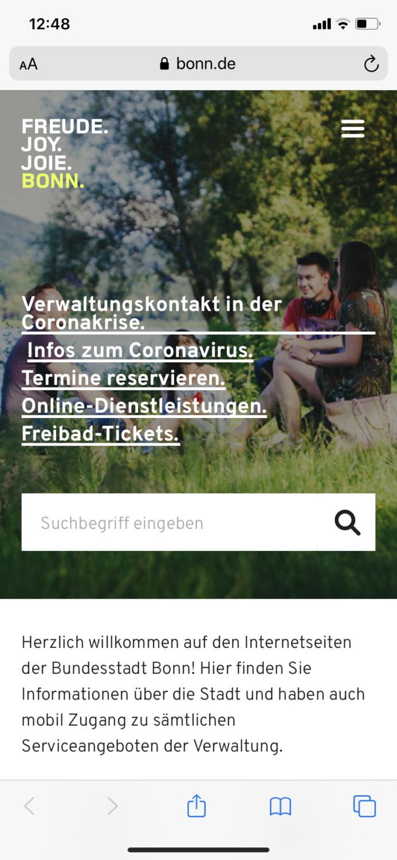 Bonn.de Webauftritt mobil (2020)