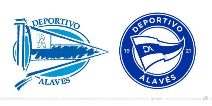 Deportivo Alavés Logo – vorher und nachher, Bildquelle: Deportivo Alavés, Bildmontage: dt