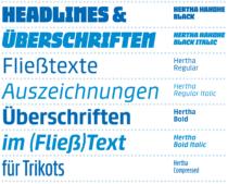 """""""Hertha"""" Font – Übersicht Schnitte, Quelle: Supertype"""
