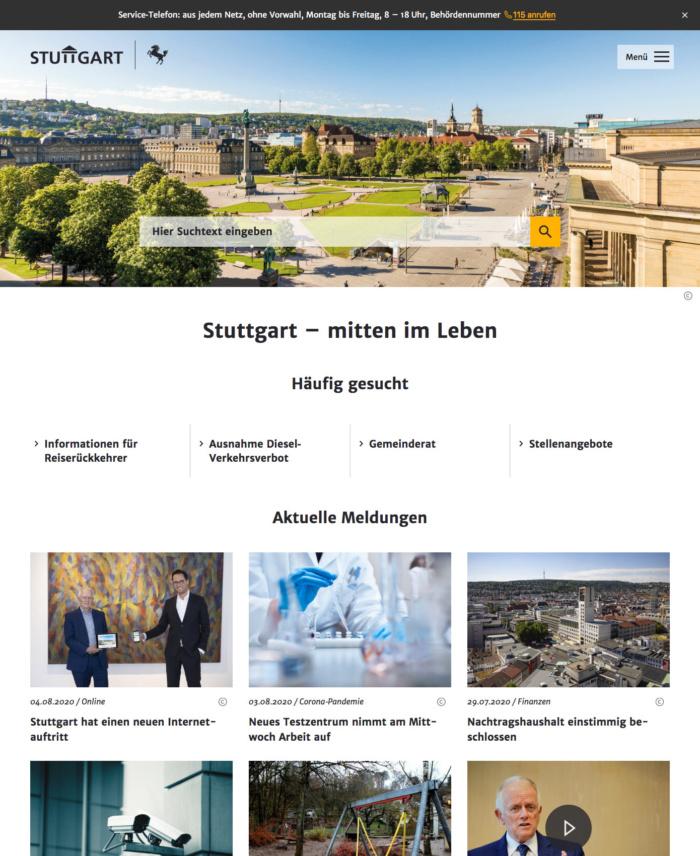 Stuttgart.de Webauftritt (2020)