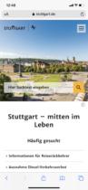 Stuttgart.de Webauftritt mobil (2020)