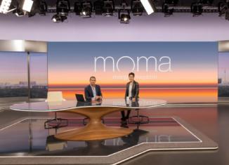 ZDF-Morgenmagazin Studio im neuen Design, Dunja Hayali, Mitri Sirin. Copyright: ZDF/Benno Kraehahn