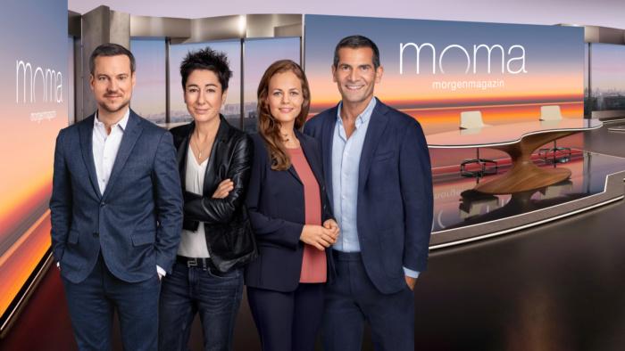 ZDF-Morgenmagazin (ab 2020), Andreas Wunn, Dunja Hayali, Harriet von Waldenfels, Mitri Sirin, Quelle: ZDF/[F] Benno Kraehahn [H] Marcus Höhn [M] RETOUCHING DE LUXE