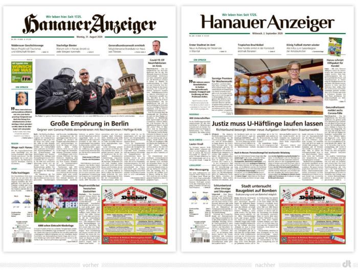 Hanauer Anzeiger – vorher und nachher, Bildquelle: Hanauer Anzeiger, Bildmontage: dt