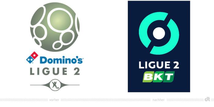 Ligue 2 Logo – vorher und nachher, Bildquelle: LFP, Bildmontage: dt
