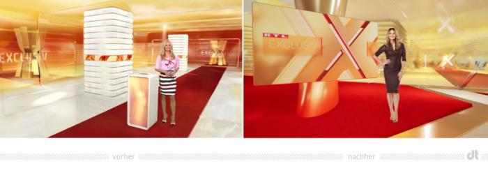 RTL Exclusiv Studio Redesign, Bildquelle: RTL Mediengruppe, Bildmontage: dt