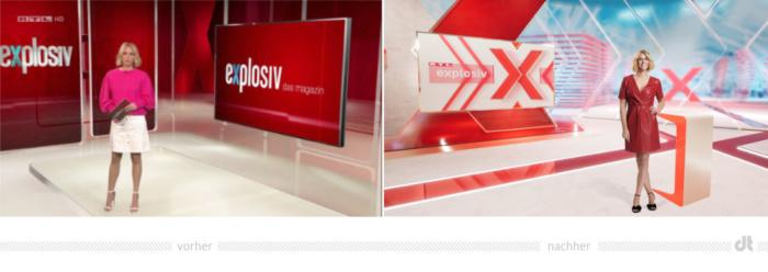 RTL Explosiv Studio Redesign, Bildquelle: RTL Mediengruppe, Bildmontage: dt