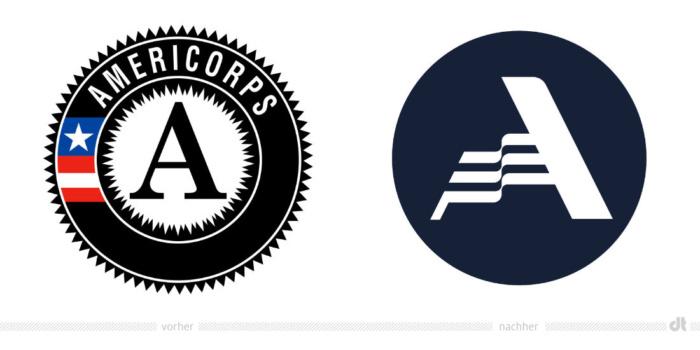 AmeriCorps Logo – vorher und nachher Bildquelle: AmeriCorps, Bildmontage: dt