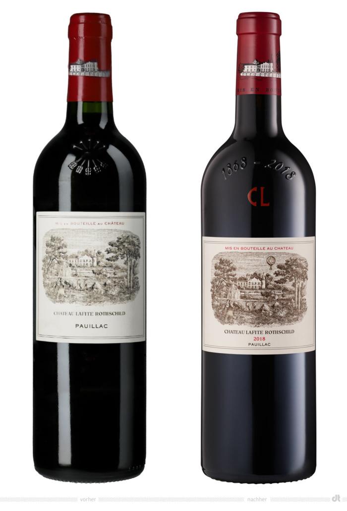 Château Lafite Rothschild Flaschenetiketten – vorher und nachher