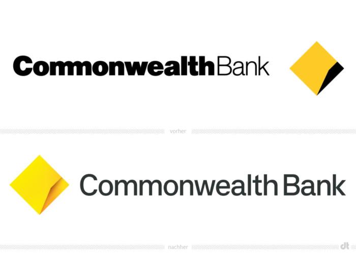 Commonwealth Bank Logo – vorher und nachher, Bildquelle: Commonwealth Bank, Bildmontage: dt