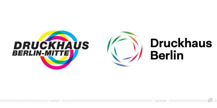 Druckhaus Berlin Logo – vorher und nachher, Bildquelle: Druckhaus Berlin, Bildmontage: dt