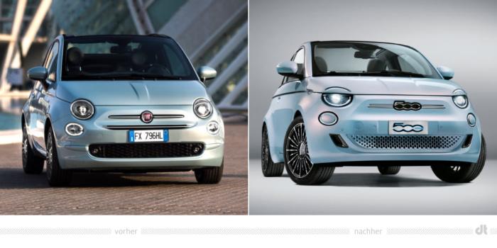 Fiat 500 – vorher und nachher, Bildquelle: Fiat, Bildmontage: dt
