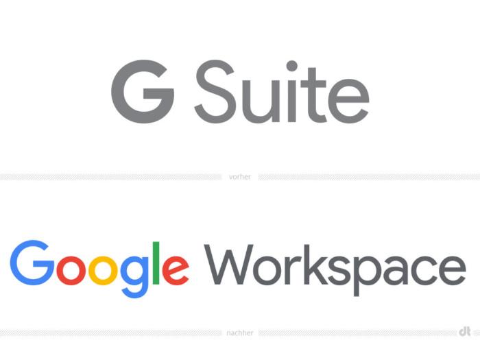 Google Workspace Logo – vorher und nachher, Bildquelle: Google, Bildmontage: dt