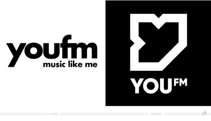 You FM Logo – vorher und nachher, Bildquelle: You FM / Hessischer Rundfunk, Bildmontage: dt
