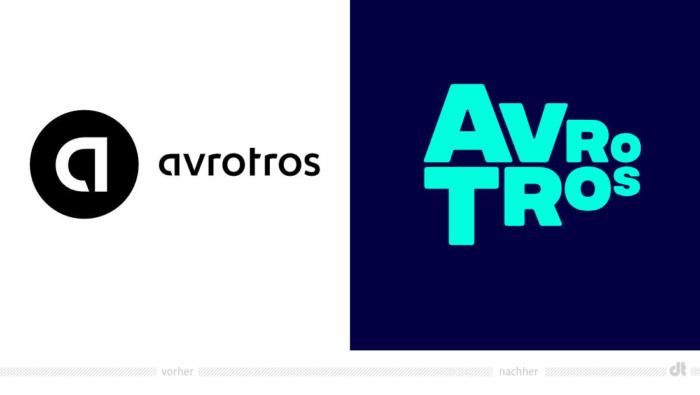 Avrotros Logo – vorher und nachher, Bildquelle: Studio Dumbar, Bildmontage: dt