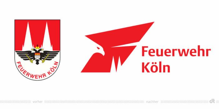 Feuerwehr Köln Logo – vorher und nachher, Bildquelle: Stadt Köln, Bildmontage: dt