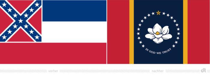 Mississippi Flagge – vorher und nachher, Bildquelle: Mississippi Department of Archives and History, Bildmontage: dt