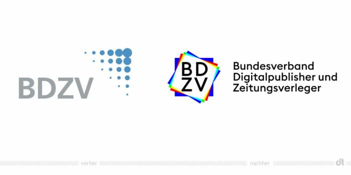 BDZV Logo – vorher und nachher, Bildquelle: BDZV, Bildmontage: dt