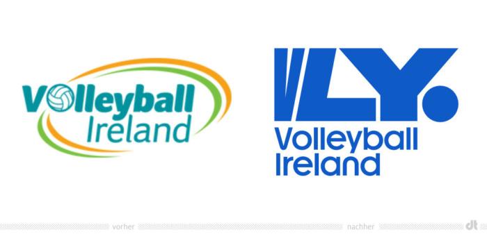 Volleyball Ireland Logo – vorher und nachher, Bildquelle: Volleyball Ireland, Bildmontage: dt