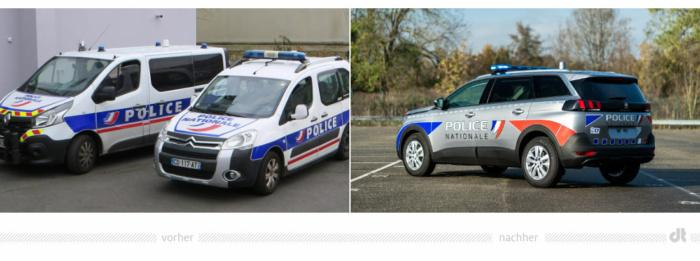 Französische Polizei Fahrzeugdesign – vorher und nachher, Bildquelle: Wikipedia (Foto: Dickelbers) und Peugeot, Bildmontage: dt