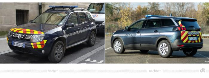 Französische Gendarmerie Fahrzeugdesign – vorher und nachher, Bildquelle: Wikimedia (Foto: Kevin.B) und Peugeot, Bildmontage: dt