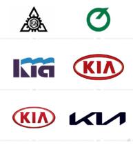 Kia Logo Evolution, Bildquelle: Kia Motors, Bildmontage: dt