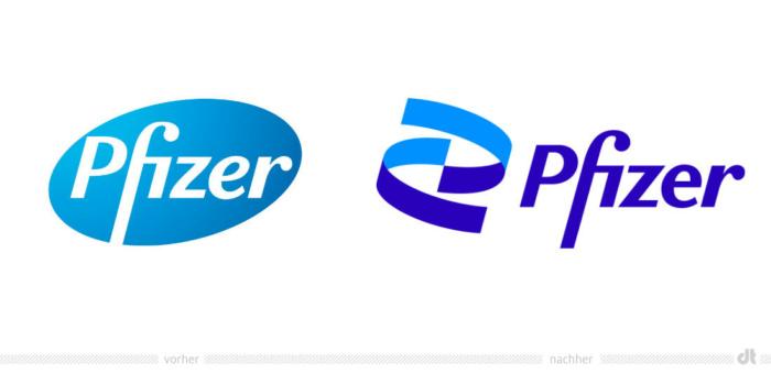 Pfizer Logo – vorher und nachher, Bildquelle: Pfizer, Bildmontage: dt