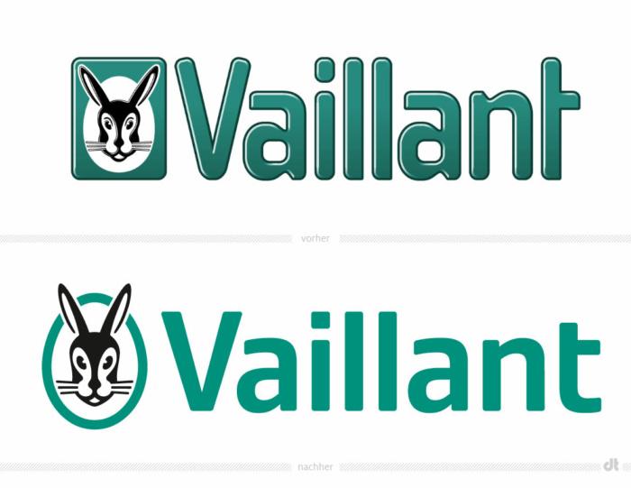 Vaillant Logo – vorher und nachher, Bildquelle: Vaillant, Bildmontage: dt
